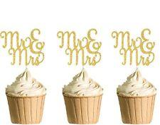 Polka Dot Sky Mr & Mrs Cupcake Toppers Hen Party Birthday Gold Glitter 6pack