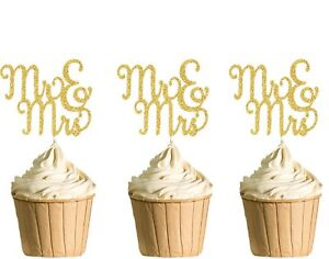 Polka Dot Sky MR & MRS Cupcake Toppers, Hen Party, Birthday Gold Glitter,6pack