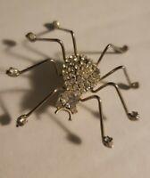 Vintage long legged rhinestone Spider Brooch Pin Silvertone