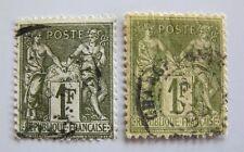 1876 France type 1 et 2 sage bronze et noir blanc 1F lot de 2