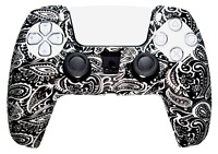 Silicone Cover For PS5 Controller Case Skin - Black & White Paisley