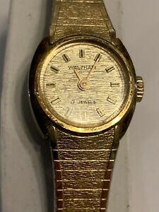 Waltham 63 CJ168 17 Jewels Manual Wind Gold Tone Women's Bracelet Band Watch