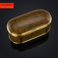 ANTIQUE 19thC GERMAN LARGE 18K GOLD-MOUNTED HARDSTONE SNUFF BOX c.1800