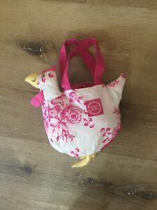 Joules Girls Bag Pink Tea Floral Print Chicken Shape