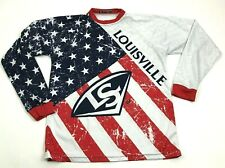 Louisville Slugger Shirt Size Small S White Dry Fit Tee Long Sleeve Red Blue