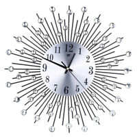 Home Decorative Crystal Sunburst Wall Clock Sunburst Metal Clock Diameter D