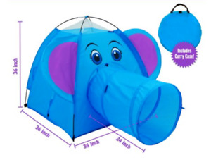 Children / Toddler Nylon Elephant Play Tent w/ Crawling Tunnel & Storage Bag NEW