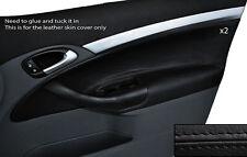 Negro Stitch 2x Frontal Puerta Tarjeta Ribete Cuero Skin Tapa se ajusta Saab 93 9-3 03-12