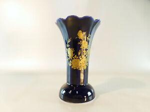 Vase blau-gold, ECHT COBALT 15 cm Höhe, Bareuther Waldsassen Bavaria Germany