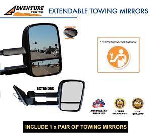 Adventure Towing Extendable Mirrors FOR ISUZU DMAX D-Max  BLACK ELEC
