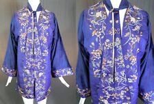 Antique Chinese Purple Silk Fine Embroidery Floral Bird Robe Neck Scarf Coat Vtg