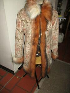 Fake-Fur Jacke, Retro, hippie , braun-beige-rost Gr S
