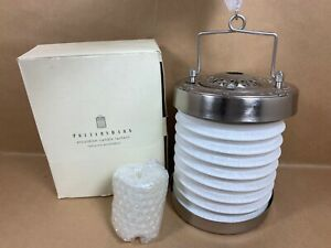Pottery Barn Accordian Lantern Votive Candle  Silver / White Collapsible