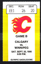 Calgary Flames vs Winnipeg Jets September 20 1986 Preseason Vintage Ticket Stub