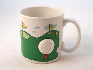 Vintage RUSS Mug Coffee or Tea Cup With Golfing Theme 3 D Golf Ball Ceramic