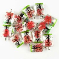 2Pcs 15.4g Delicate Crystal Glass Red Dried Flower Oblong Pendant Bead W461GH
