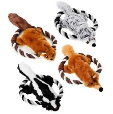Barkawaytoys - Set of 4 Plush Toys for Dogs- Squeaky Animals Toy with Rope