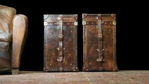 Handmade Side Table Trunks Antique English Handmade Bridle Leather Occasional Si
