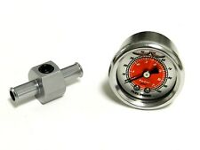 "RED 0-100 PSI RACING FUEL PRESSURE GAUGE & 3/8"" INLINE HOSE END TEE ADAPTER E"