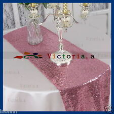 """Blush Pink Select Sequin Table Runner 12""""x72"""" Sparkly For Wedding Party Decor"""