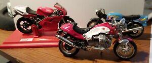(3) Maisto 1:18 Scale Honda CP, Ducati 996, Moto Guzzi V10 Centauro Motorcycles