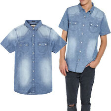 Brave Soul Mens Artiny Denim Chambray Cotton Patterned Casual Short Sleeve Shirt