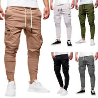 2019 Fashion Men's Sport Pure Color Bandage Loose Sweatpants Drawstring Pants DZ