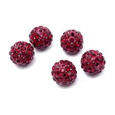 Polymer Clay Disco Ball Beads 10mm Dark Red 10 Pcs Rhinestone Art Hobby Crafts