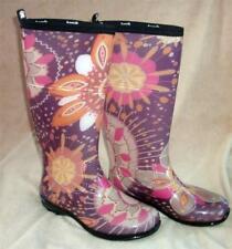 Kamik Rain Boots Purple Pink Floral Vinyl Size 6 Wellies EUC