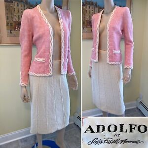 Vintage ADOLFO Size 2/XS Ivory White & Pink Boucle Stretch Wool Knit SKIRT SUIT