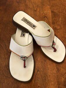 Brighton Womens White Leather Flip Flop Sandal Size 9.5 EUC