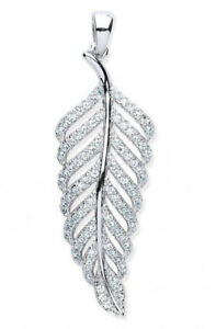 """RHODIUM PLATED 925 HALLMARKED STERLING SILVER PAVE SET LEAF PENDANT & 18"""" CHAIN"""