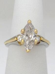 18K YELLOW GOLD & PLATINUM 1 1/2ct MARQUISE DIAMOND CUSTOM ENGAGEMENT RING