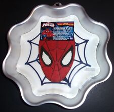 Lot of 2 Spider-Man Spider Web Cakes Pan Wilton FREE Betty Crocker Scraper