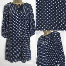 NEW M&S Ladies Spotted Tunic Swing Dress Loose Fit Smart Navy White Size 6-24