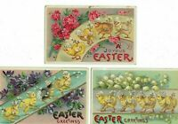 Lot of 3 ~ Chicks in a Row~with Flowers~Gel Embossed Easter Postcards~a893