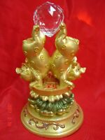 Pair of Golden Pigs Statue Pushing Treasure Up for Year of the Boar