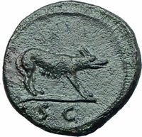 TRAJAN 109AD Rome Quadrans or Semis Authentic Ancient Roman Coin She Wolf i78748