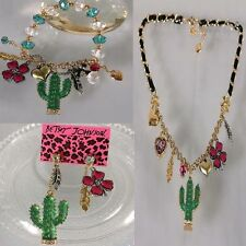 NEW Betsey Johnson cactus leaves stretch bracelet necklace earring Set