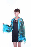 Chinese Women's Silk Embroider Shawl/Scarf With Peafow