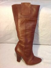 Faith Brown Knee High Leather Boots Size 36