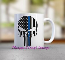 Punisher Blue Lives Matter Coffee Mug Cup 11 oz Microwave Dishwasher safe