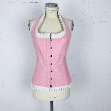 Womens Genuine Leather Corset Pink White Ruffle Halter Boned Black String