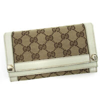 Gucci wallet GG pattern beige canvas �~ leather Auth used T16718