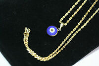 """New 14K Gold Evil Eye Pendant Women's Necklace 2mm Rope 10K Solid Gold Chain 18"""""""
