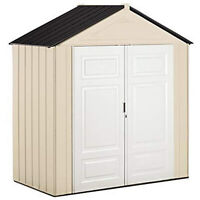 Rubbermaid 165915 7 x 3-Foot Plastic Outdoor Storage Shed, Maple/Sandstone