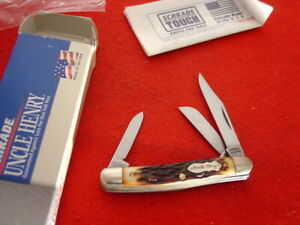 """Schrade Uncle Henry USA made 807UH stockman 2-7/8"""" closed knife MIB"""