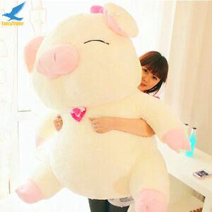 Cute 43'' Stuffed Pig Giant Large Sanshun Pig Plush Toy Soft Doll-White Powder @