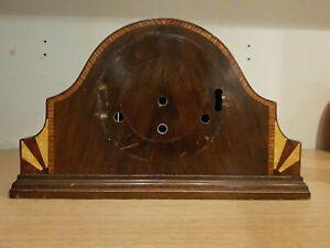 Antique Clock Case Art Deco Inlaid Geometric Design 37x22x13cm