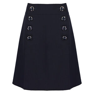 Michael Kors Collection Midnight Blue Buttoned Front Military Skirt US2 UK6
